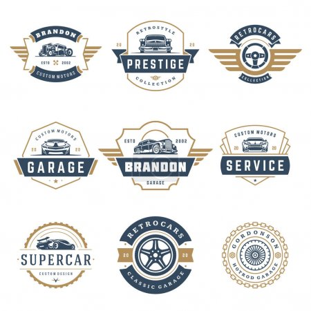 Illustration for Car logos templates vector design elements set, vintage style emblems and badges retro illustration. Classic cars repairs, tire service silhouettes. - Royalty Free Image