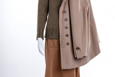 Photo for Close up sweater, skirt and coat. Cashmere overcoat for women. Feminine casual wear. - Royalty Free Image