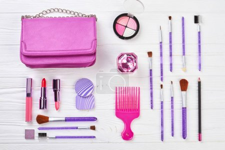 Photo for Set of professional cosmetics and fashion accessories. Female cosmetics and modern accessories wooden background. Beauty and fashion concept. - Royalty Free Image