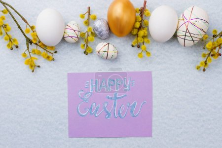 Photo for Composition with Easter eggs and pussy willow. Happy Easter beautiful background. Congratulation with Easter holidays. - Royalty Free Image
