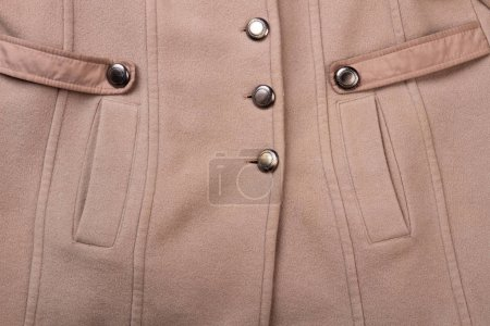 Detail of cashmere topcoat with pockets. Close up ...