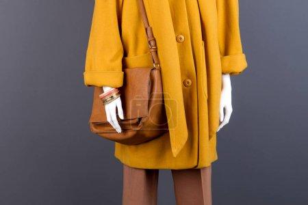 Foto de Bolso de cuero de moda femenina de color marrón. Maniquí vestido con abrigo de Cachemira moderna. Joyería de la manera de las señoras sobre maniquí - Imagen libre de derechos