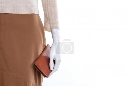 Photo for Brown skirt and wallet, copy space. Women clothing and accessories, cropped image. Feminine brand clothes on sale. - Royalty Free Image