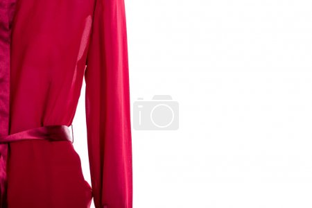 Photo for Close up red blouse, copy space. Fashion design elegant blouse for ladies, cropped image. Feminine classy outfit. - Royalty Free Image