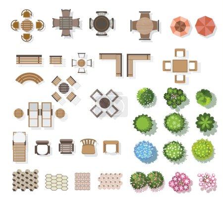 Illustration for Trees top view , furniture, floor, for landscape . vector illustration - Royalty Free Image