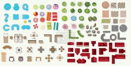 Set of vector wooden benches and tree top symbols. Collection for landscape, top view, plan,  beach Infographic,swimming pool, stone floor texture