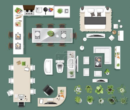 Illustration for Interior icons top view, tree ,furniture, bed,sofa, armchair, for architectural or landscape design, for map.vector illustration - Royalty Free Image