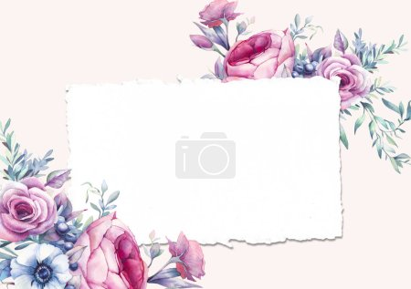 Card with peonies and roses
