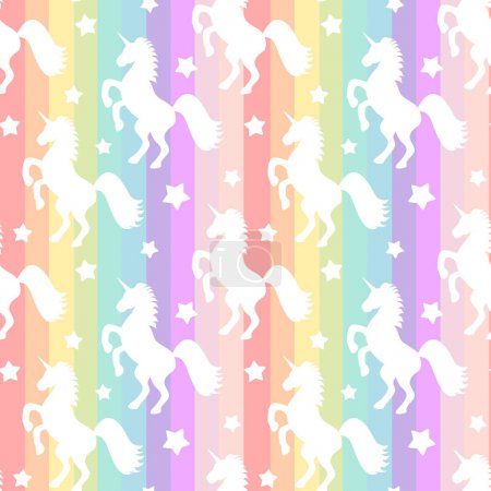 cute white unicorns silhouette on rainbow colorful stripes seamless vector pattern background illustration
