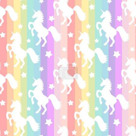 silhouette de licornes blanc mignon sur rainbow rayures colorées transparente motif fond illustration vectorielle