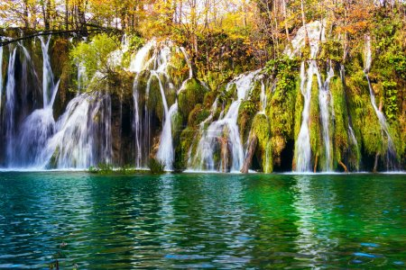 Colorful autumn and waterfall in the Plitvice Lakes National Par