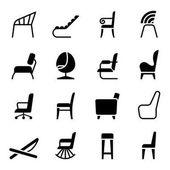 Židle ikonky v bočním pohledu