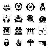 Sada ochrany ikon vektorové ilustrace grafický design