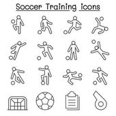 Soccer Football Training icons set in thin line style