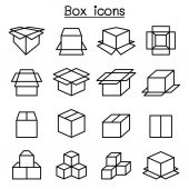Box icon set in thin line style