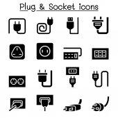 Plug & Socket icon set vector illustration graphic design