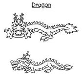 Dragon vector illustration in thin line style