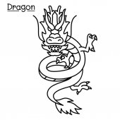 Dragon vector in thin line style