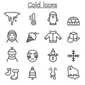 Cold icon set in thin line style