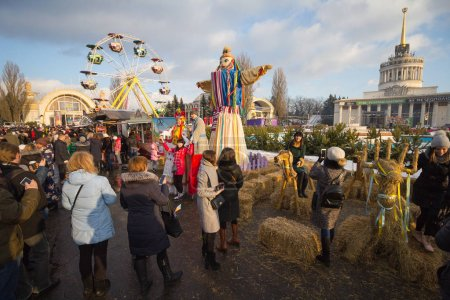 Kiev, Ukraine - February 17, 2018: Citizens and tourists at the celebration of Maslenitsa - symbolic meeting of spring