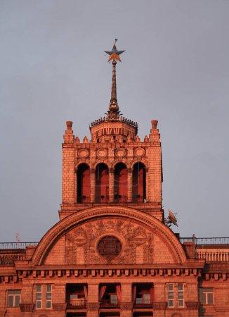 Building in the style of the Soviet Empire, built during the Soviet era. Kiev, Ukraine
