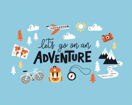 Photo pour Partons à l'aventure. Illustration typographique avec texte et montagnes pour cartes de vœux, affiches et t-shirts . - image libre de droit