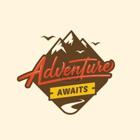 Photo pour L'aventure vous attend. Illustration typographique avec texte et montagnes pour cartes de vœux, affiches et t-shirts . - image libre de droit