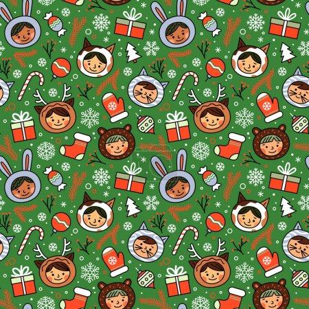 Photo pour Modèle sans couture vectoriel avec des enfants drôles dans différents masques animaux de carnaval pour la fête du Nouvel An avec décor de Noël . - image libre de droit