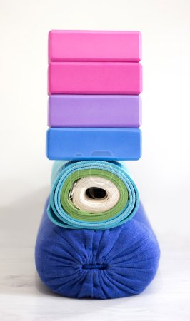 Yoga blocks, bolster, strap and carpets