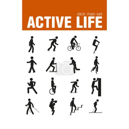 Vector active vehicle stick man set...
