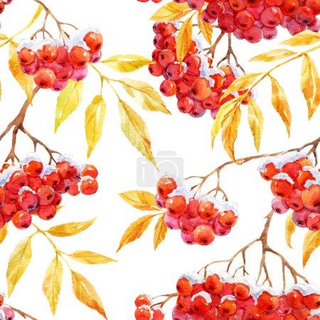 Watercolor rowan pattern