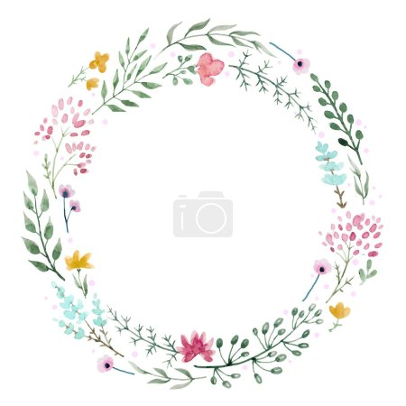 Photo for Beautiful wreath with nice hand drawn watercolor flowers - Royalty Free Image