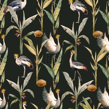 Photo pour Beau motif avec aquarelle dessinée à la main feuilles de palmier tropical - image libre de droit
