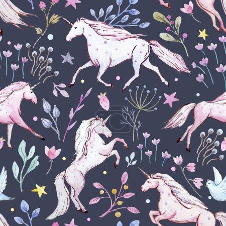 Watercolor unicorn pattern