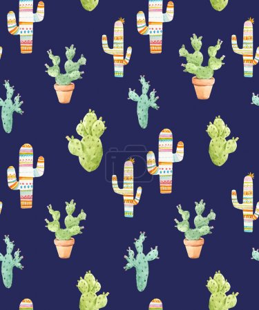 Photo for Beautiful seamless pattern with watercolor hand drawn cactus - Royalty Free Image