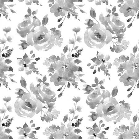 Photo pour Belle aquarelle motif floral sans couture avec des fleurs d'automne abstraites - image libre de droit