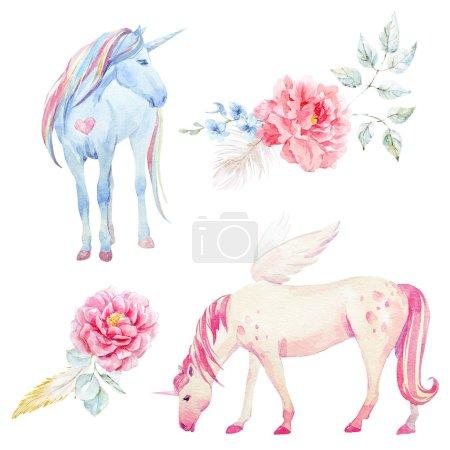 Photo pour Beautiful sertie de main Licorne aquarelle dessinée pegasus et fleurs - image libre de droit