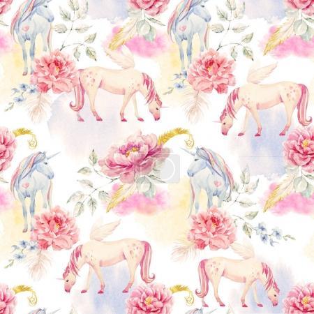Photo pour Beau modèle sans couture avec la main des licornes aquarelles dessinées pegasus et fleurs - image libre de droit