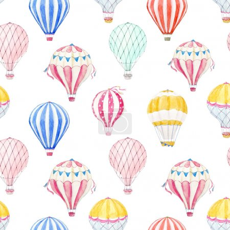 Photo for Beautiful seamless pattern with hand drawn watercolor air baloons - Royalty Free Image