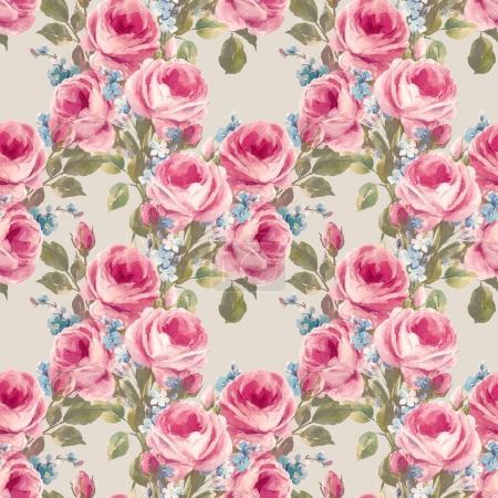 Photo pour Beau motif sans couture avec des roses aquarelle dessinées à la main - image libre de droit