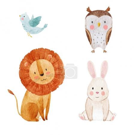 Photo pour Beautiful sertie d'une main dessinée aquarelle mignons bébés animaux - image libre de droit