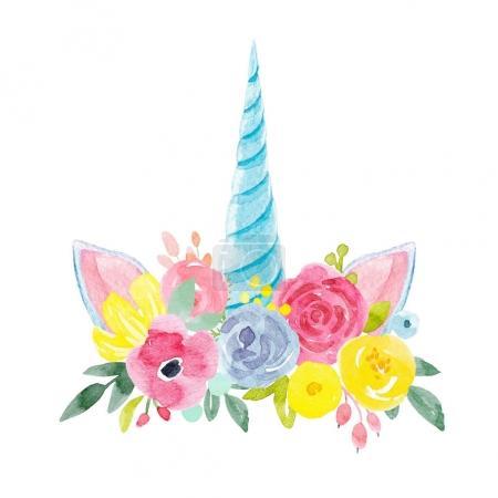 Photo pour Belle composition de fleurs aquarelles et corne de licorne - image libre de droit