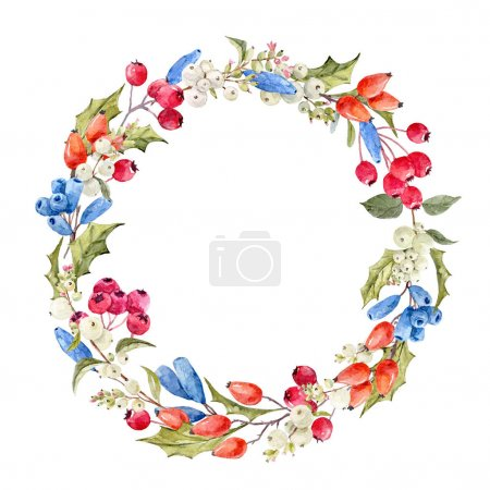 Photo for Beautiful watercolor wreath with hand drawn flowers and berries - Royalty Free Image