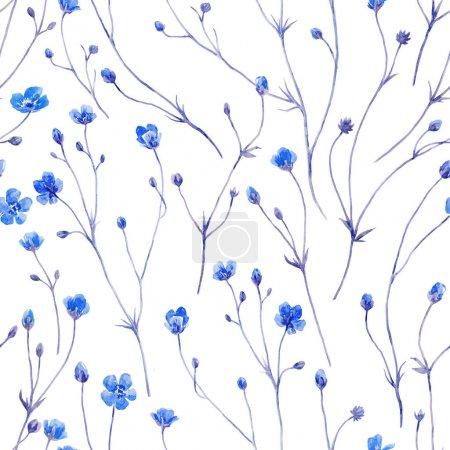 Photo pour Beau motif sans couture avec des fleurs d'été aquarelle - image libre de droit