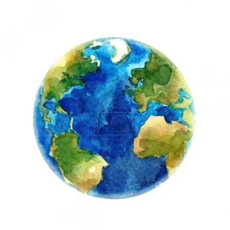 Photo pour Belle aquarelle dessinée à la main illustration de la planète Terre - image libre de droit