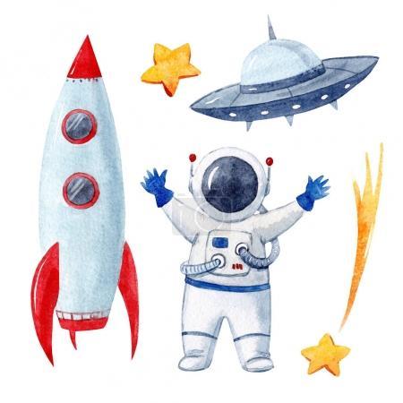 Photo pour Beautiful sertie à l'espace aquarelle éléments fusée vaisseau spatial astronaute astéroïde - image libre de droit