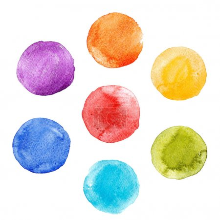 Photo for Beautiful set with hand drawn watercolor rainbow colourful spots - Royalty Free Image