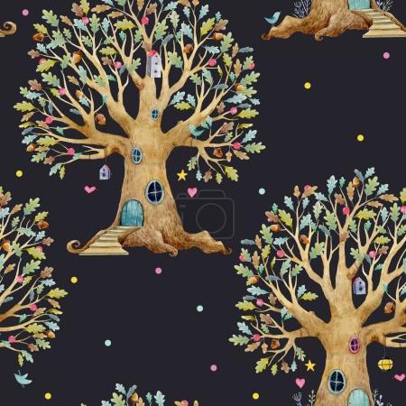 Photo pour Magnifique motif sans couture avec maison en arbre forestier pour bébés - image libre de droit