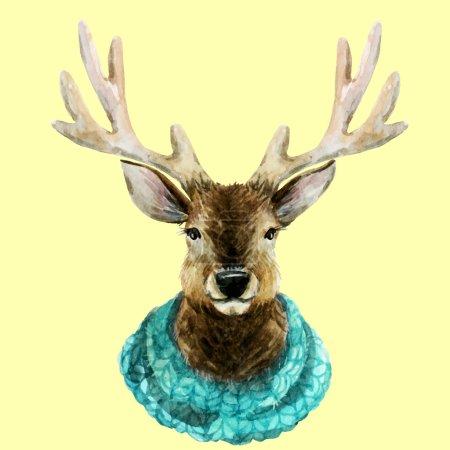 Watercolor handsome deer