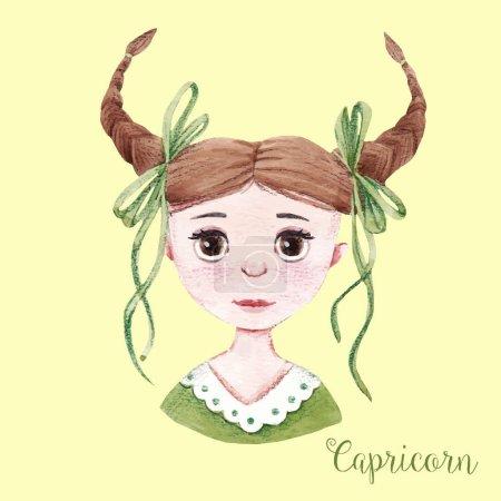 Watercolor horoscope sign capricorn